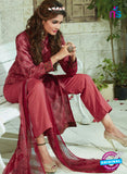 SC 13925 Maroon Glace Cotton Exclusive Pakistani Straight Suit
