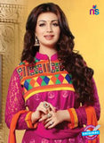 NS10792 Magenta and Orange Embroidered Cotton Long Designer Straight Suit