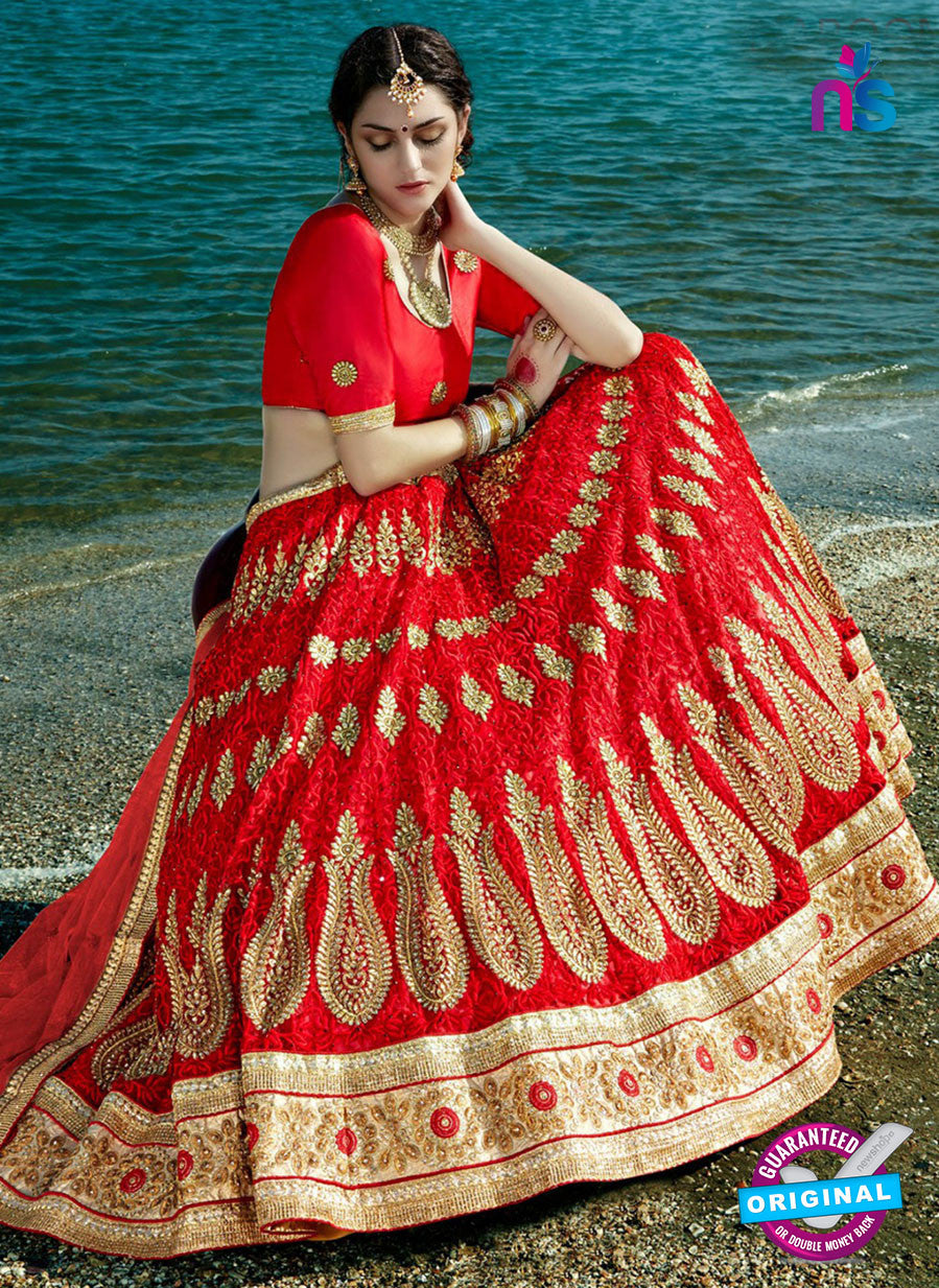 AZ 2212 Red Dupion Silk Embroidered Party Wear Lehenga
