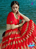 AZESZ 2212 Red Dupion Silk Embroidered Party Wear Lehenga