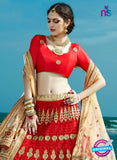 AZESZ 2213 Red Dupion Silk Embroidered Party Wear Lehenga