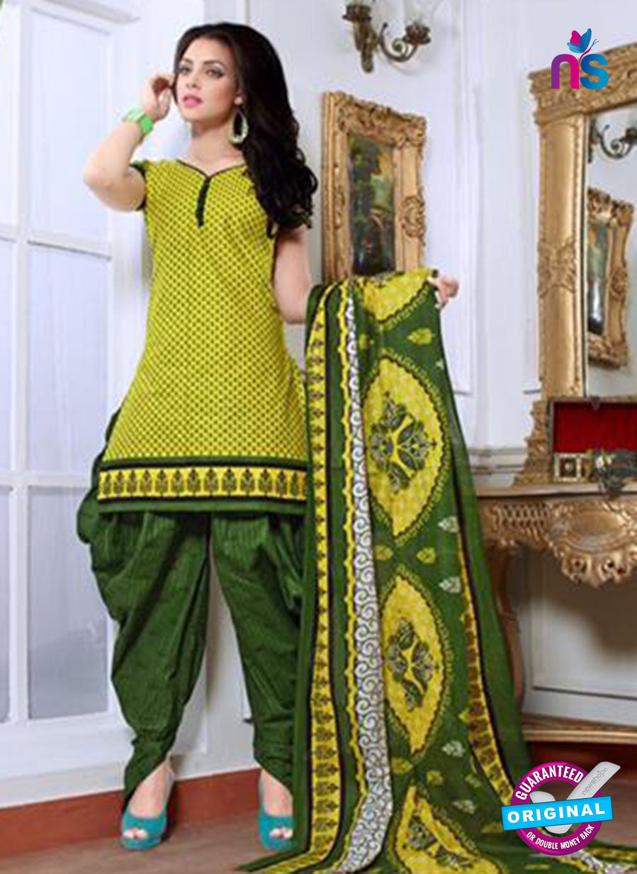 NS10085 Yellow and Green Cotton Suit