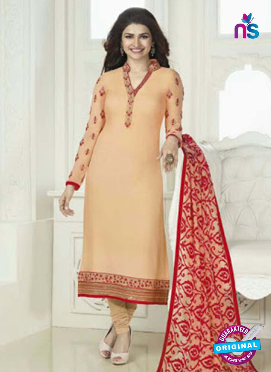 Vinay Fashion 4021 Light Orange and Red Designer Georgette Party Wear Straight Suit