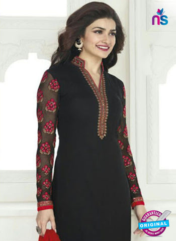Vinay Fashion 4028 Black and Red Designer Georgette Party Wear Straight Suit