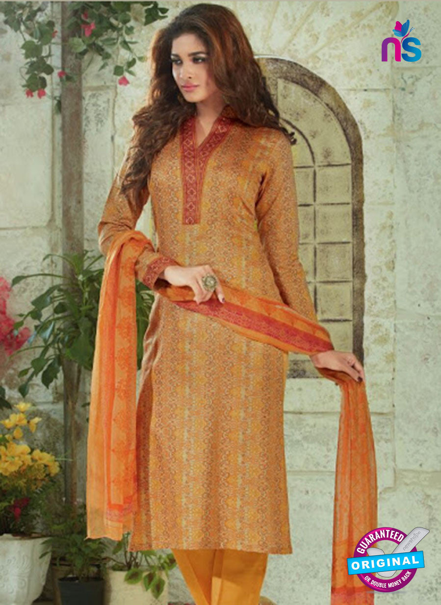 SC 13914 Orange Glace Cotton Exclusive Pakistani Straight Suit