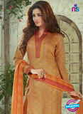 SC 13914 Orange Glace Cotton Exclusive Pakistani Straight Suit Online