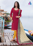 NS11246 Crimson Red and TurmericYellow Party Wear Bhagalpuri Straight Suit