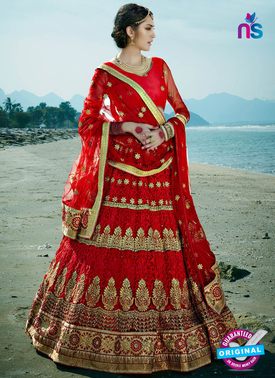 AZ 2214 Red Dupion Silk Embroidered Party Wear Lehenga