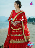 AZESZ 2214 Red Dupion Silk Embroidered Party Wear Lehenga