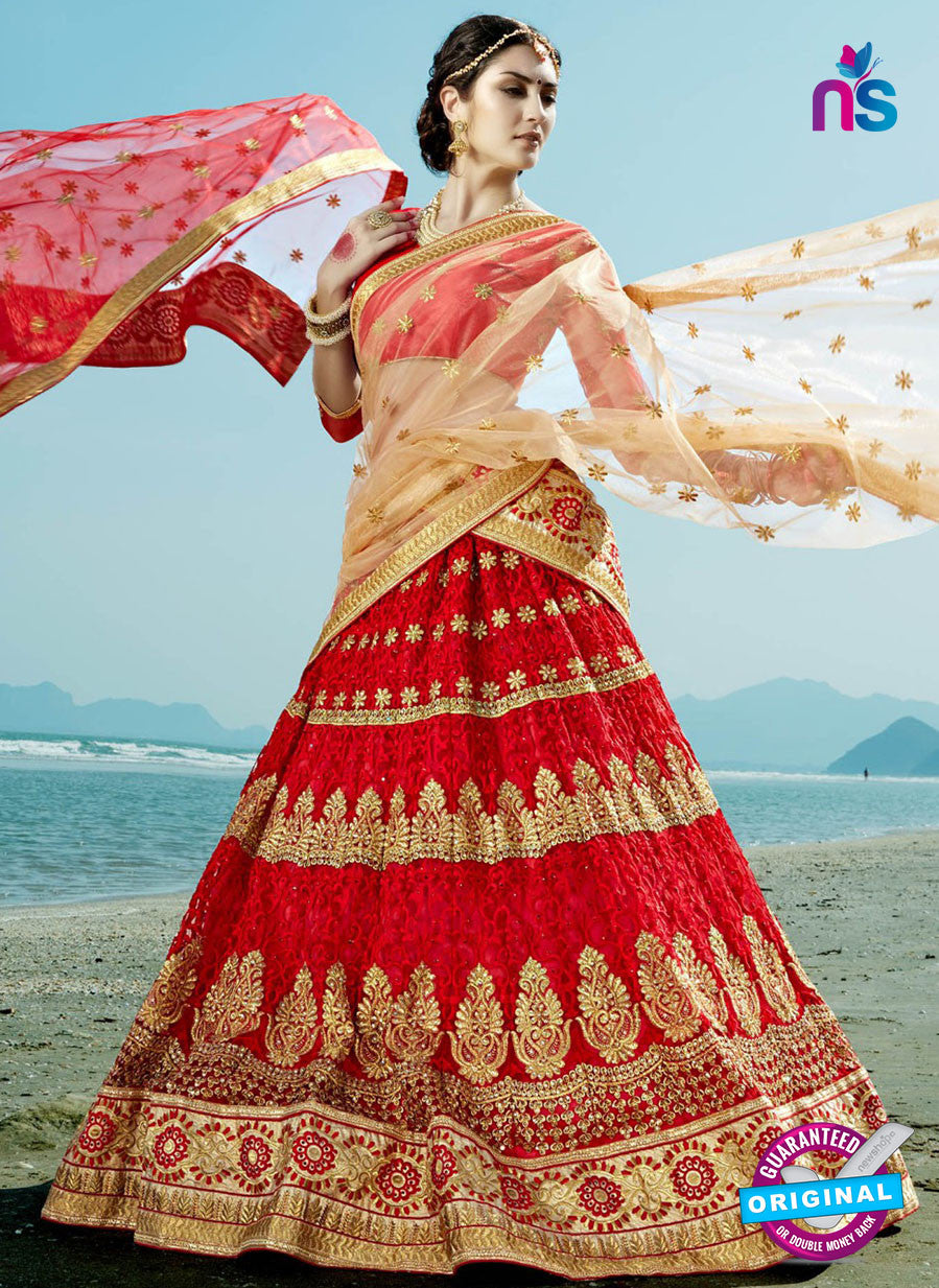 AZ 2215 Red Dupion Silk Embroidered Party Wear Lehenga