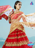AZESZ 2215 Red Dupion Silk Embroidered Party Wear Lehenga