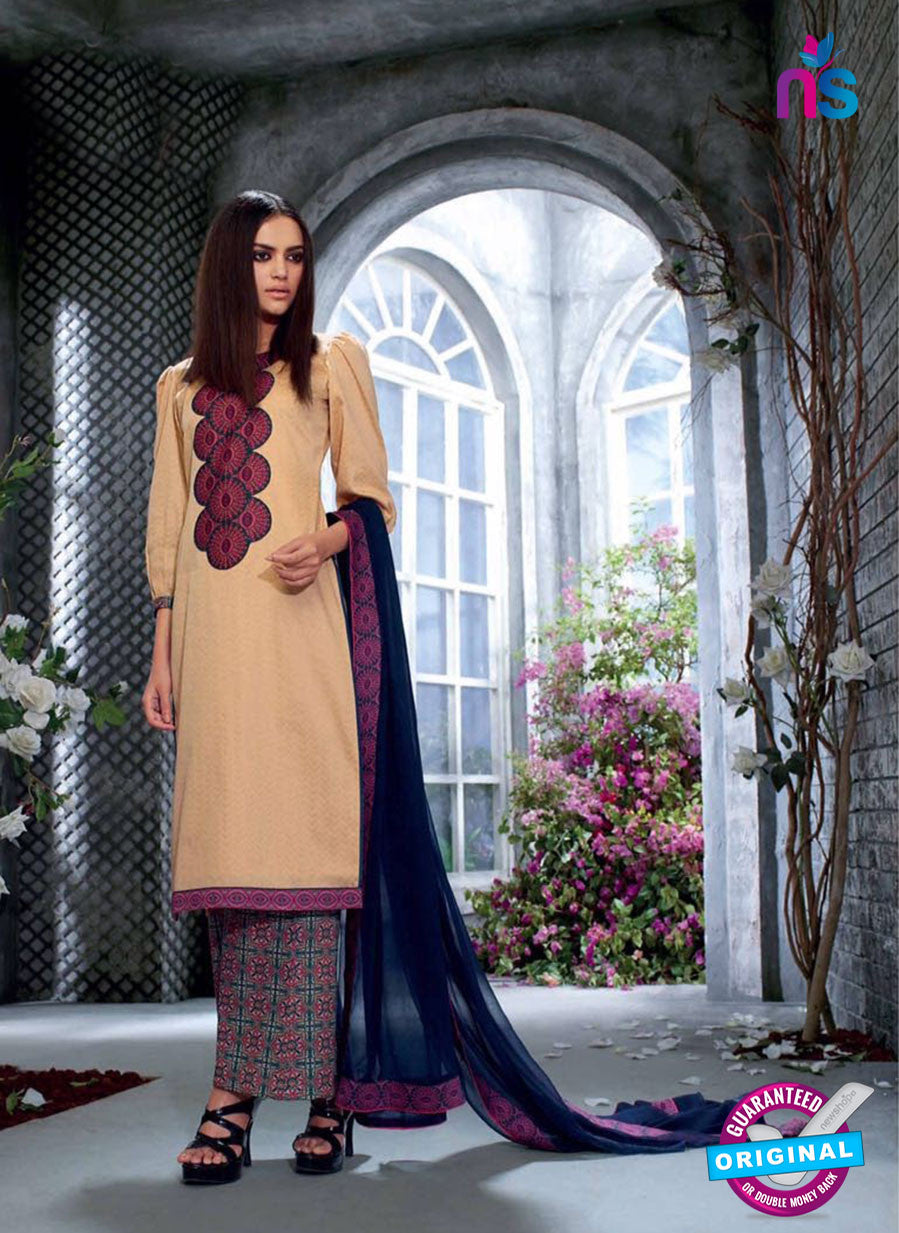 Ganga 4031 Beige and Blue Color Cotton Designer Straight Suit