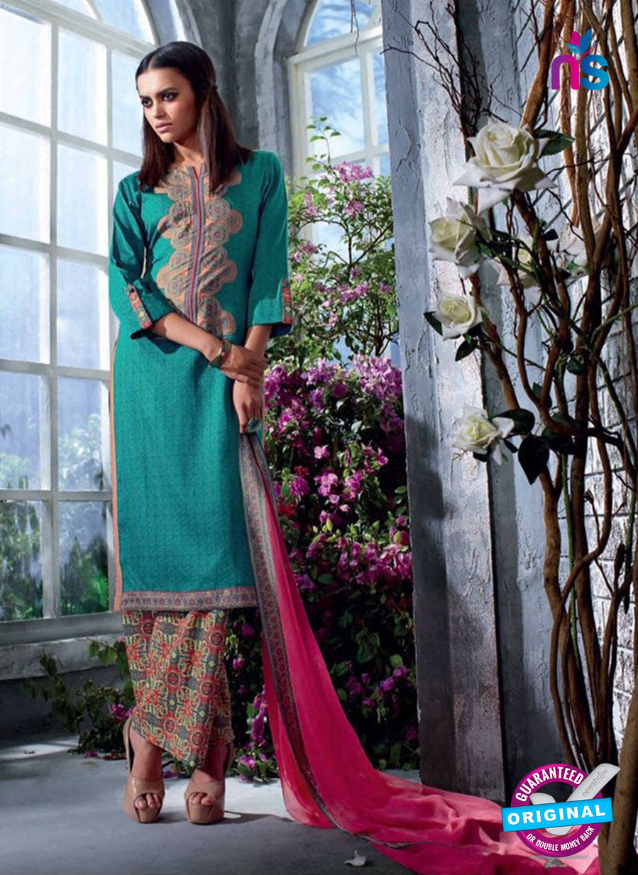 Ganga 4033 Sky Blue and Pink Color Cotton Designer Straight Suit