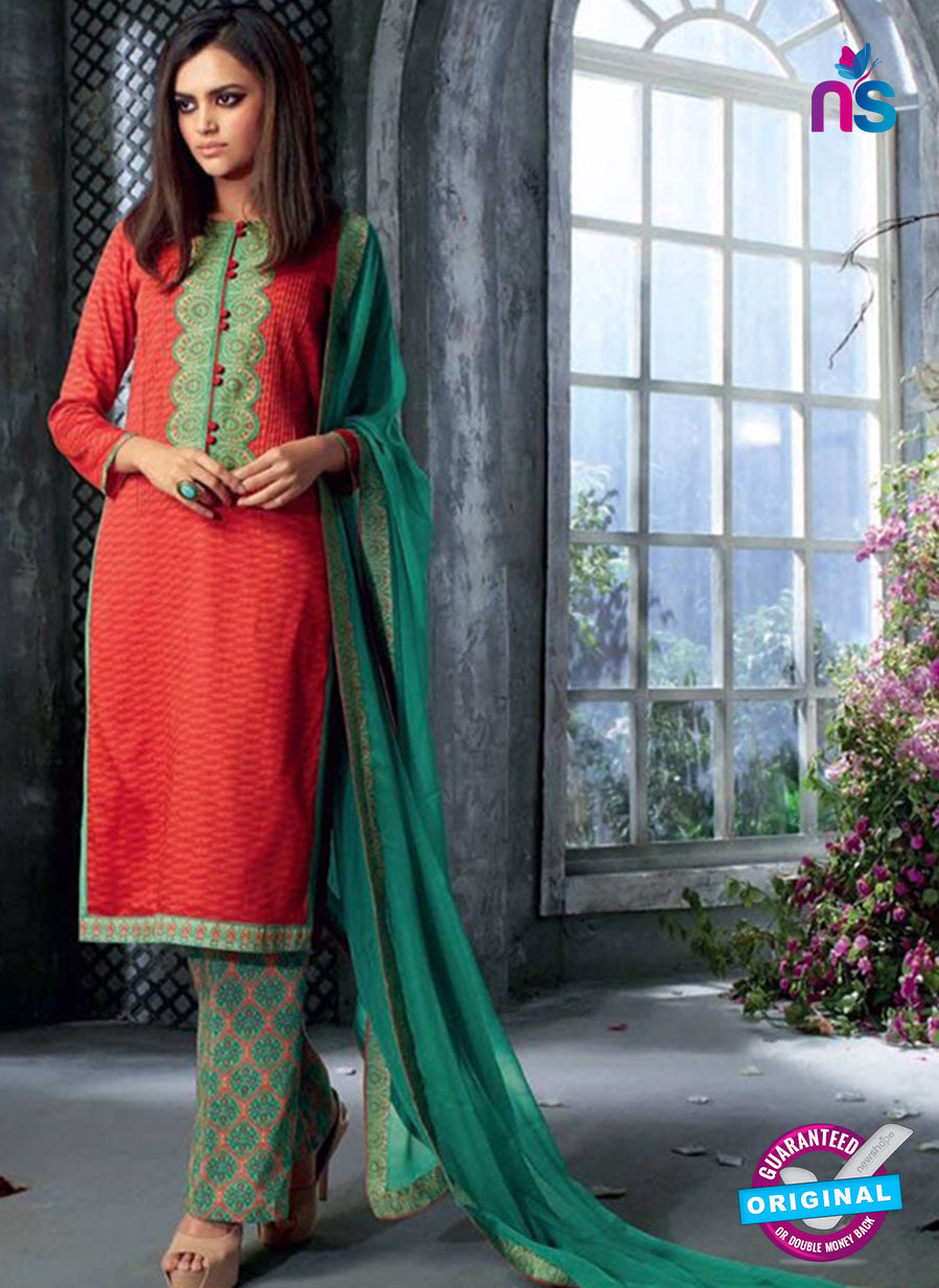 Ganga 4037 Red and Sea Green Color Cotton Designer Straight Suit