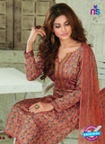 SC 13923 Brown Glace Cotton Exclusive Pakistani Straight Suit