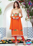 NS10227 Beige and Orange Pure Cotton Daily Wear Long Straight Suit