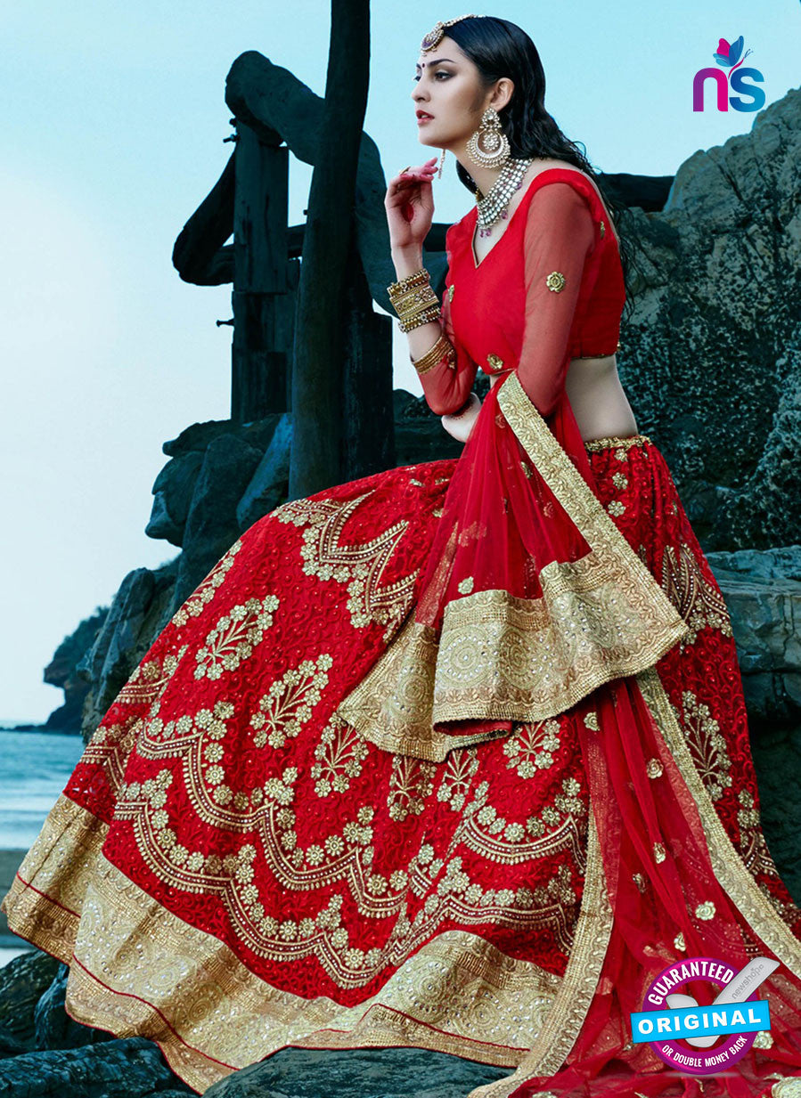 AZ 2216 Red Dupion Silk Embroidered Party Wear Lehenga