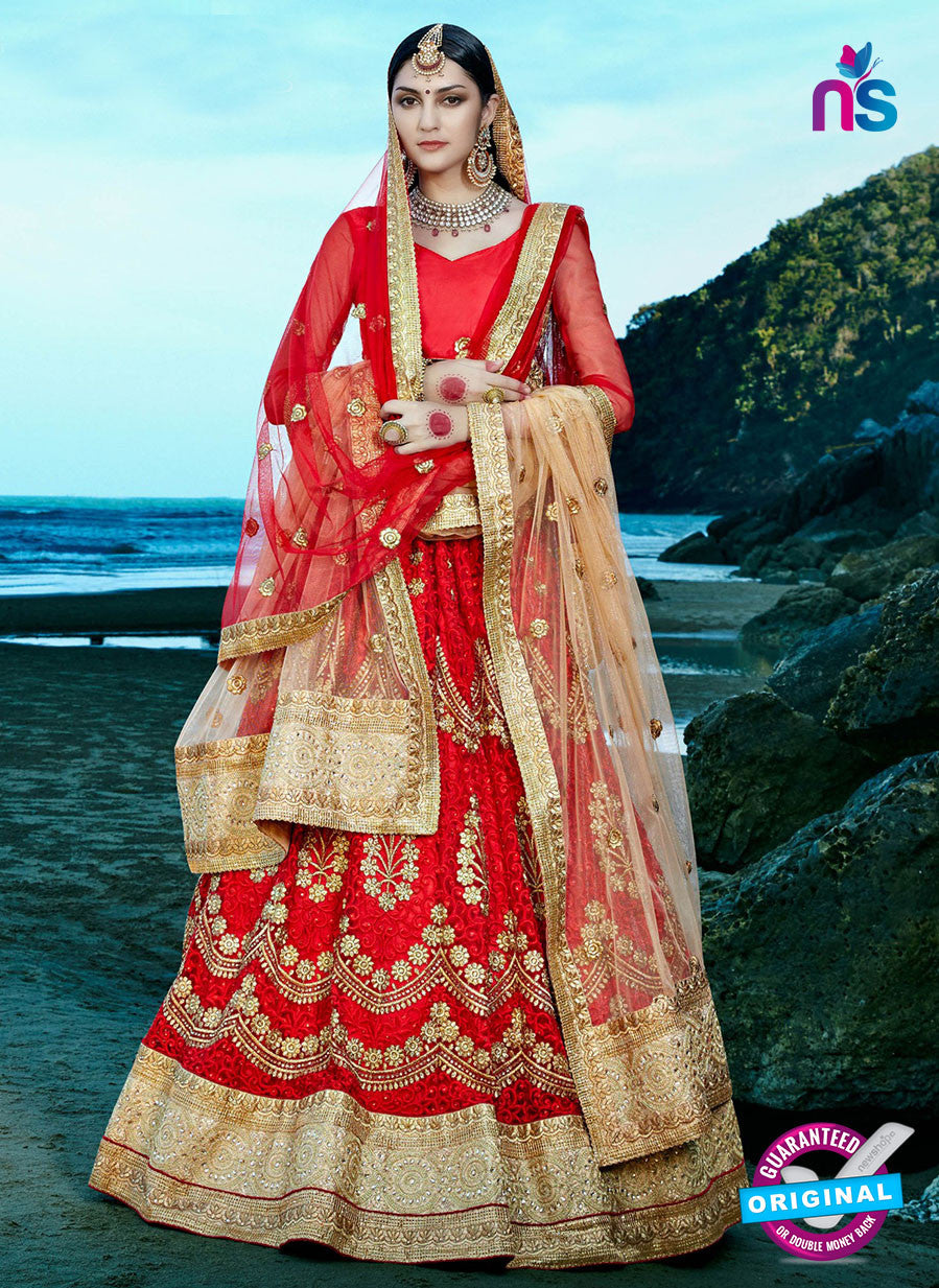 AZ 2217 Red Dupion Silk Embroidered Party Wear Lehenga