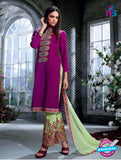 Ganga 4040 Purple and Green Color Cotton Designer Straight Suit