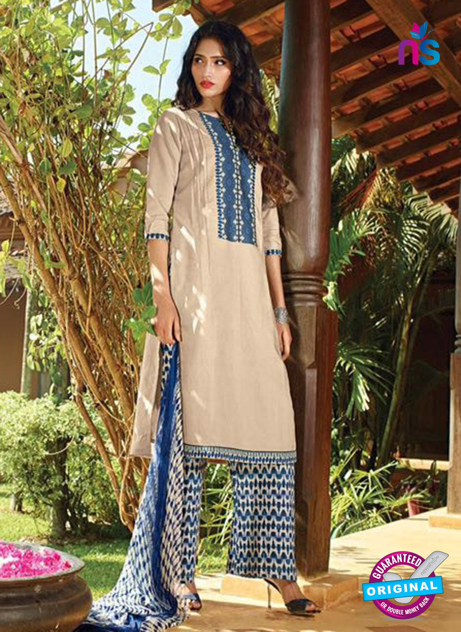 Ganga 4041  Beige and Blue Color Cotton Designer Straight Suit