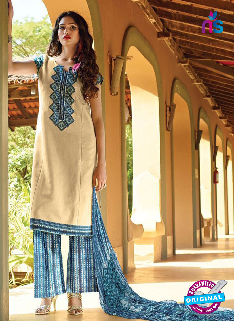 Ganga 4042  Beige and Blue Color Cotton Designer Straight Suit
