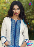 Ganga 4043  White and Blue Color Cotton Designer Straight Suit