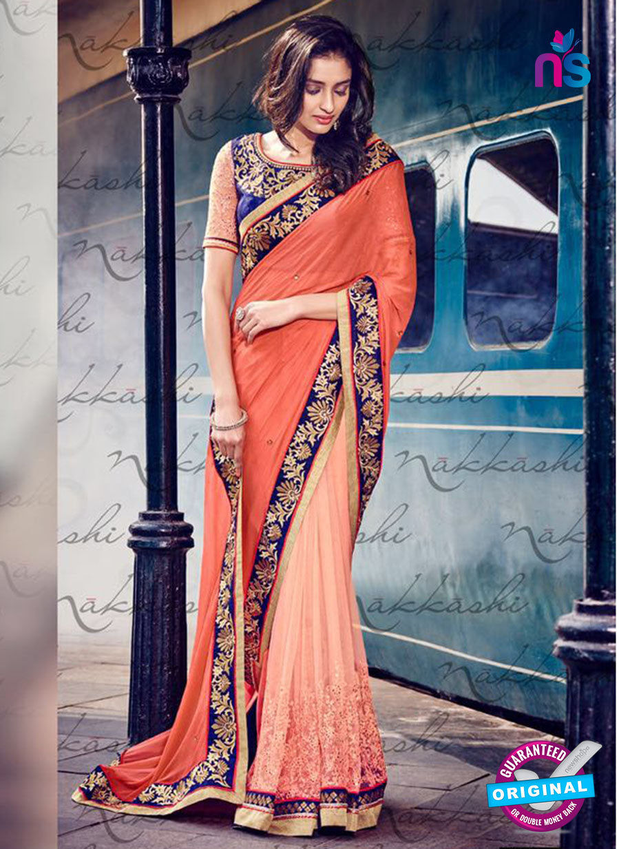 Nakkashi 4046 Peach And Blue Chiffon Party Wear Saree