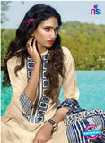 Ganga 4047 Beige and Blue  Color Cotton Designer Straight Suit
