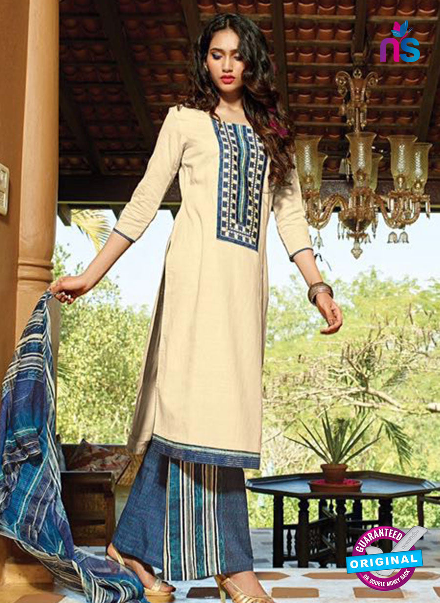 Buy Ganga 4048 Beige and Blue Cotton Designer Straight Suit Online