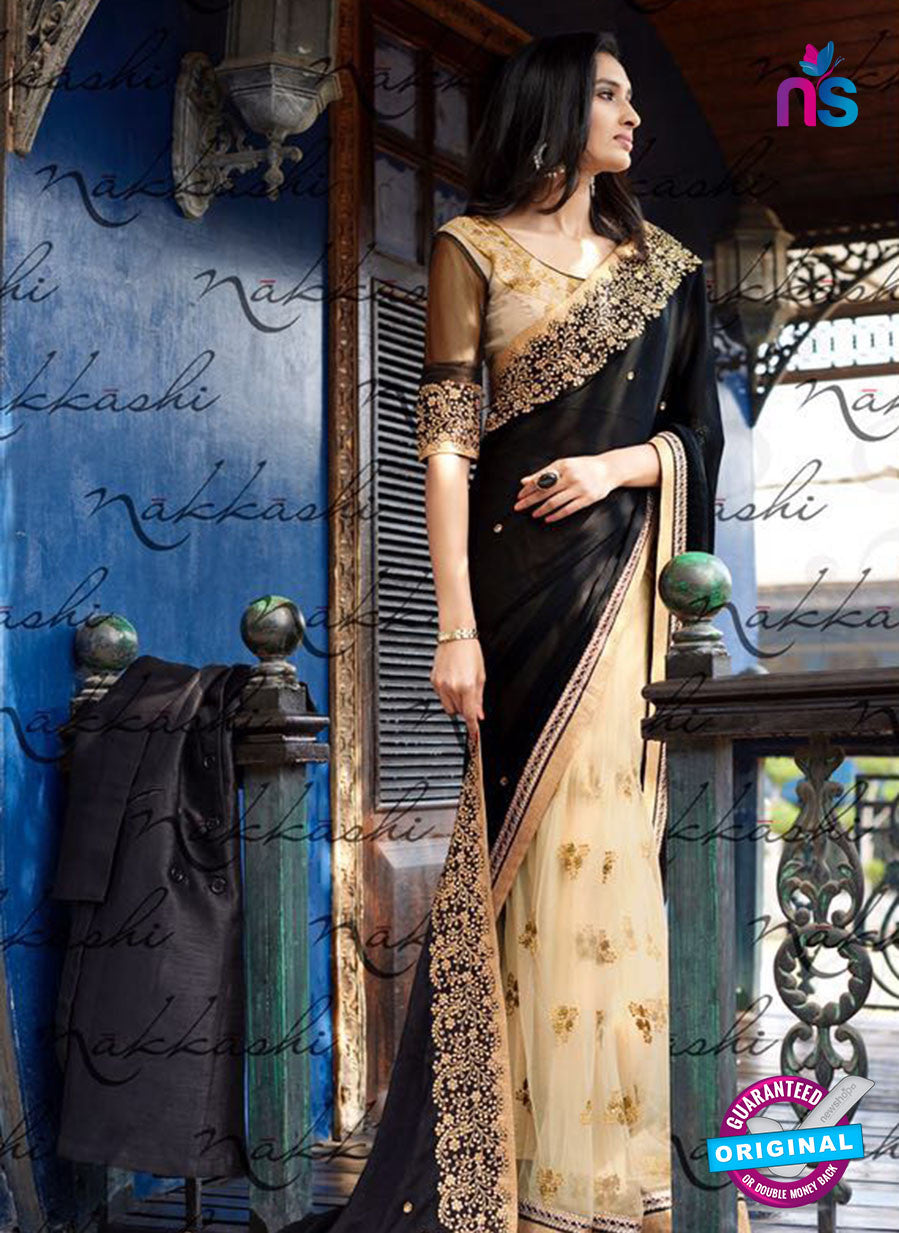 Nakkashi 4048 Beige And Black Jacquard Party Wear Saree