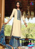Ganga 4048 Beige and Blue Cotton Designer Straight Suit