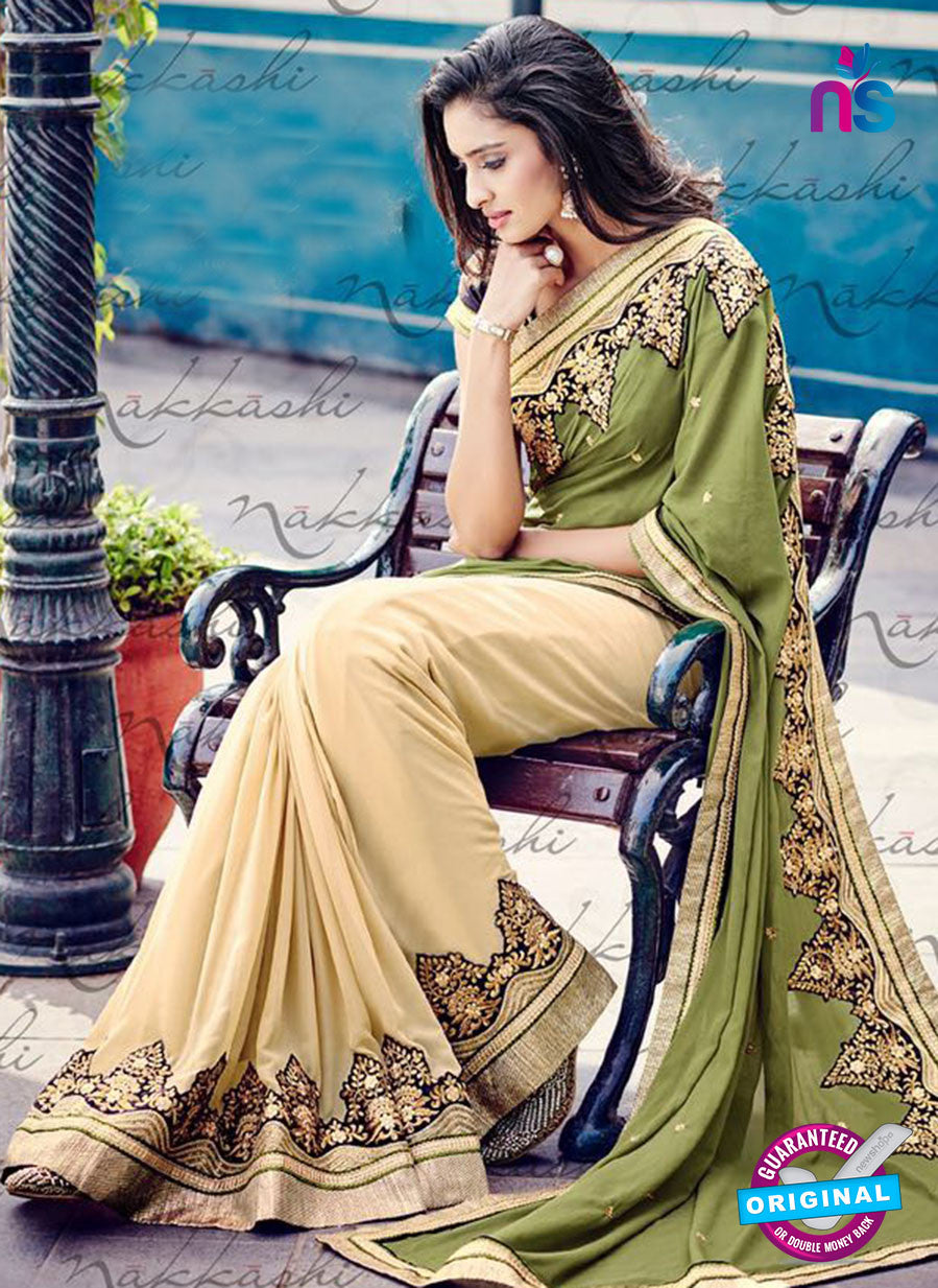 Nakkashi 4049 Beige And Green Georgette Party Wear Saree