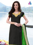 NS11247 Black and ParrotGreen Bhagalpuri Straight Suit