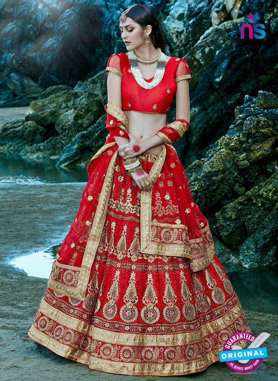 AZ 2218 Red Dupion Silk Embroidered Party Wear Lehenga