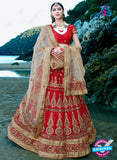 AZ 2219 Red Dupion Silk Embroidered Party Wear Lehenga