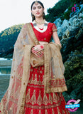 AZESZ 2219 Red Dupion Silk Embroidered Party Wear Lehenga