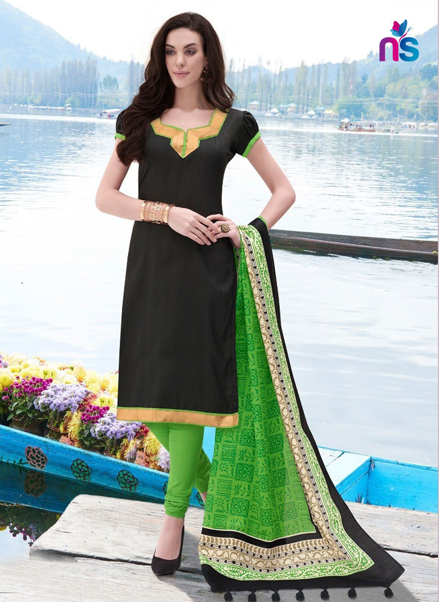 NS11247 Black and ParrotGreen Party Wear Bhagalpuri Straight Suit
