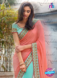 Nakkashi 4053 Peach And Blue Georgette Party Wear Saree