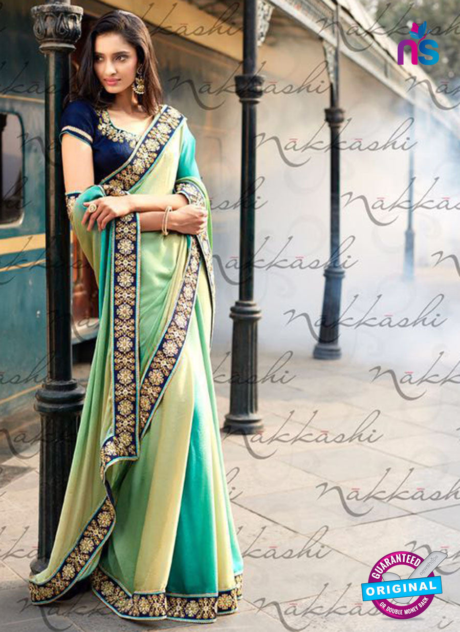 Nakkashi 4055 Beige And Blue Jacquard Party Wear Saree