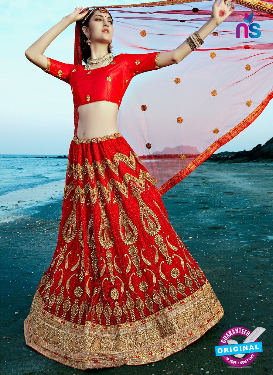 AZ 2220 Red Dupion Silk Embroidered Party Wear Lehenga