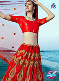 AZESZ 2220 Red Dupion Silk Embroidered Party Wear Lehenga