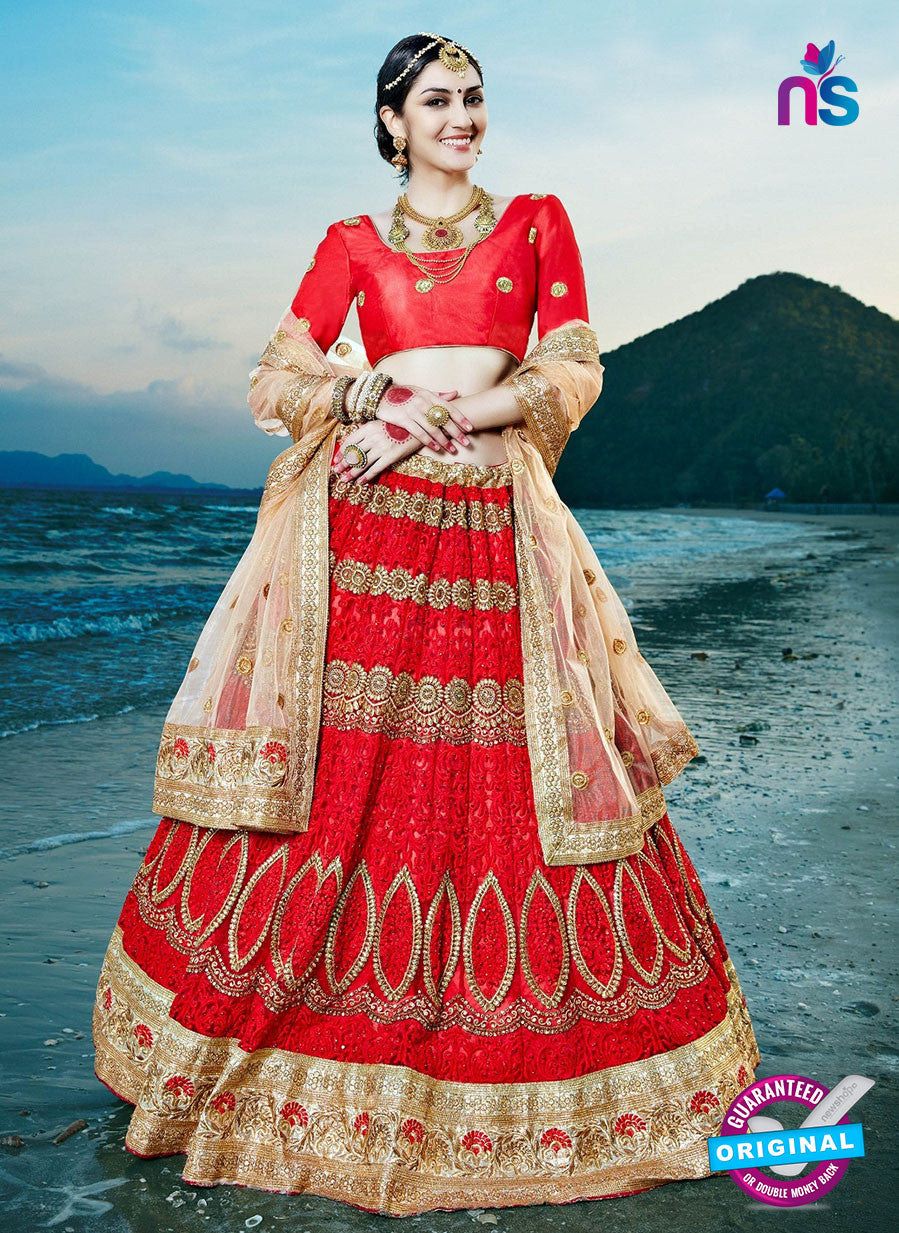 AZ 2221 Red Dupion Silk Embroidered Party Wear Lehenga