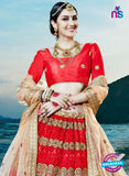 AZESZ 2221 Red Dupion Silk Embroidered Party Wear Lehenga