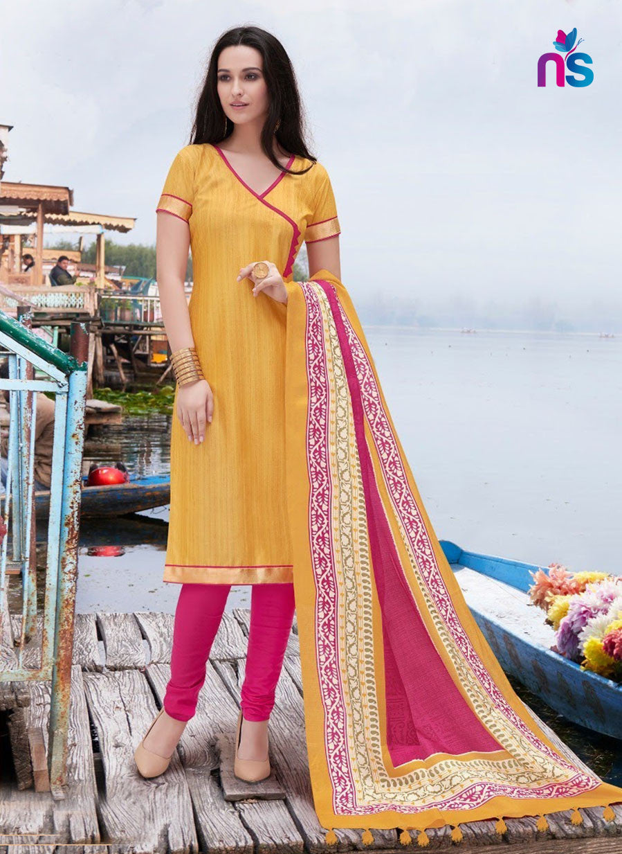 NS11248 Yellow and DeepPink Party Wear Bhagalpuri Straight Suit