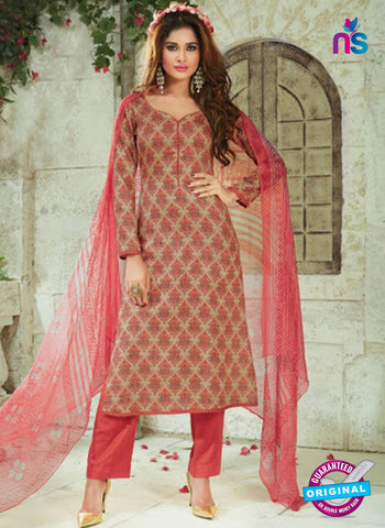SC 13920 Beige and Peach Exclusive Pakistani Straight Suit