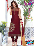 NS10228 Maroon and Brown Pure Cotton Daily Wear Long Straight Suit