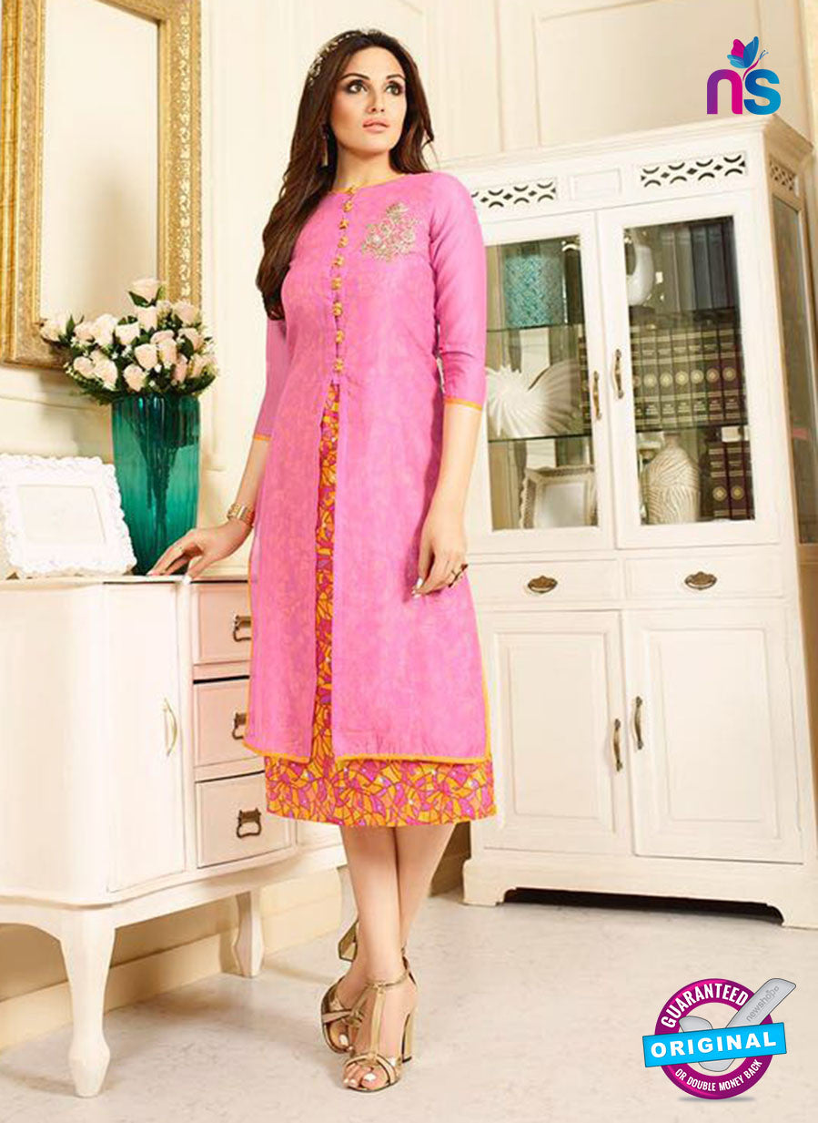 LT 407 Pink and Yellow Designer Fancy Exclusive Party Wear Stitched Kurti