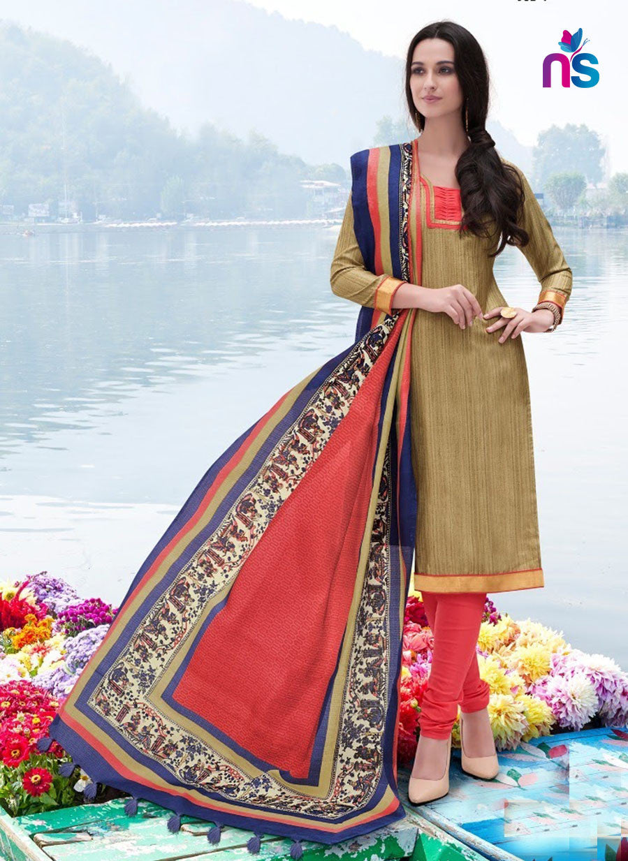 NS11250 LightRed Party Wear Bhagalpuri Straight Suit