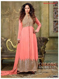 NS11903  Red & Pink Silky Net and Georgette Designer Gawn