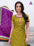 NS11251 OliveGreen and Purple Bhagalpuri Straight Suit